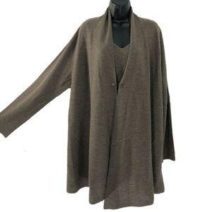 Eileen Fisher Cardigan Sweater Tank Top Wool